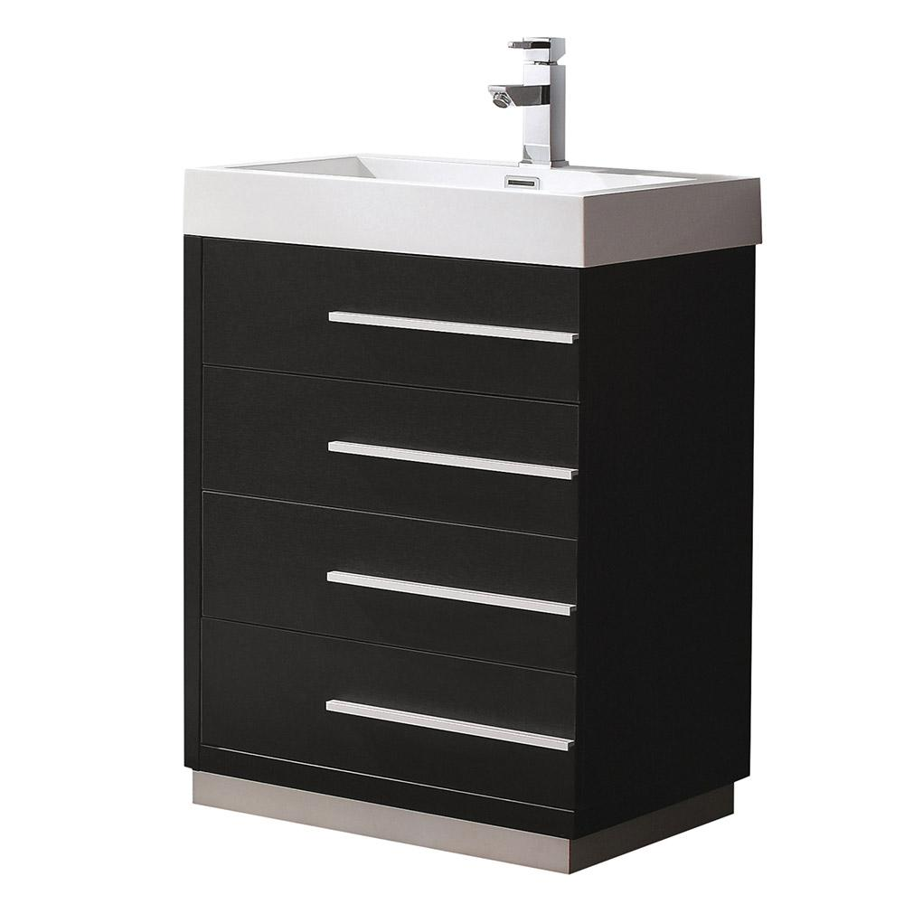 Livello 24 in. Bath Vanity in Black with Acrylic Vanity Top