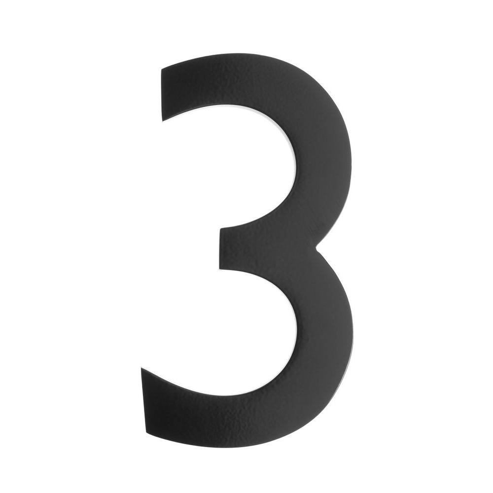 Architectural Mailbo 5 In Black Floating House Number 3