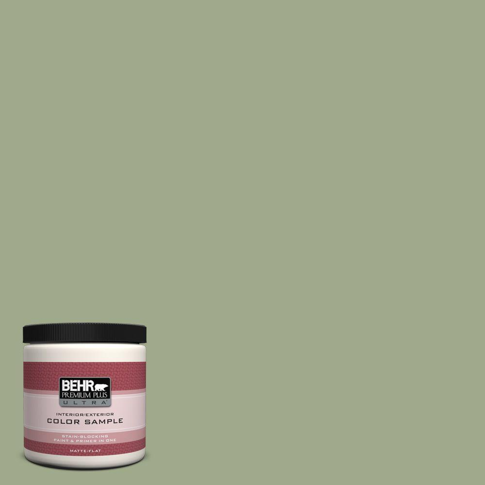 BEHR Premium Plus Ultra 8 oz. #PMD-36 Mountain Sage Flat Interior/Exterior Paint and Primer in One Sample