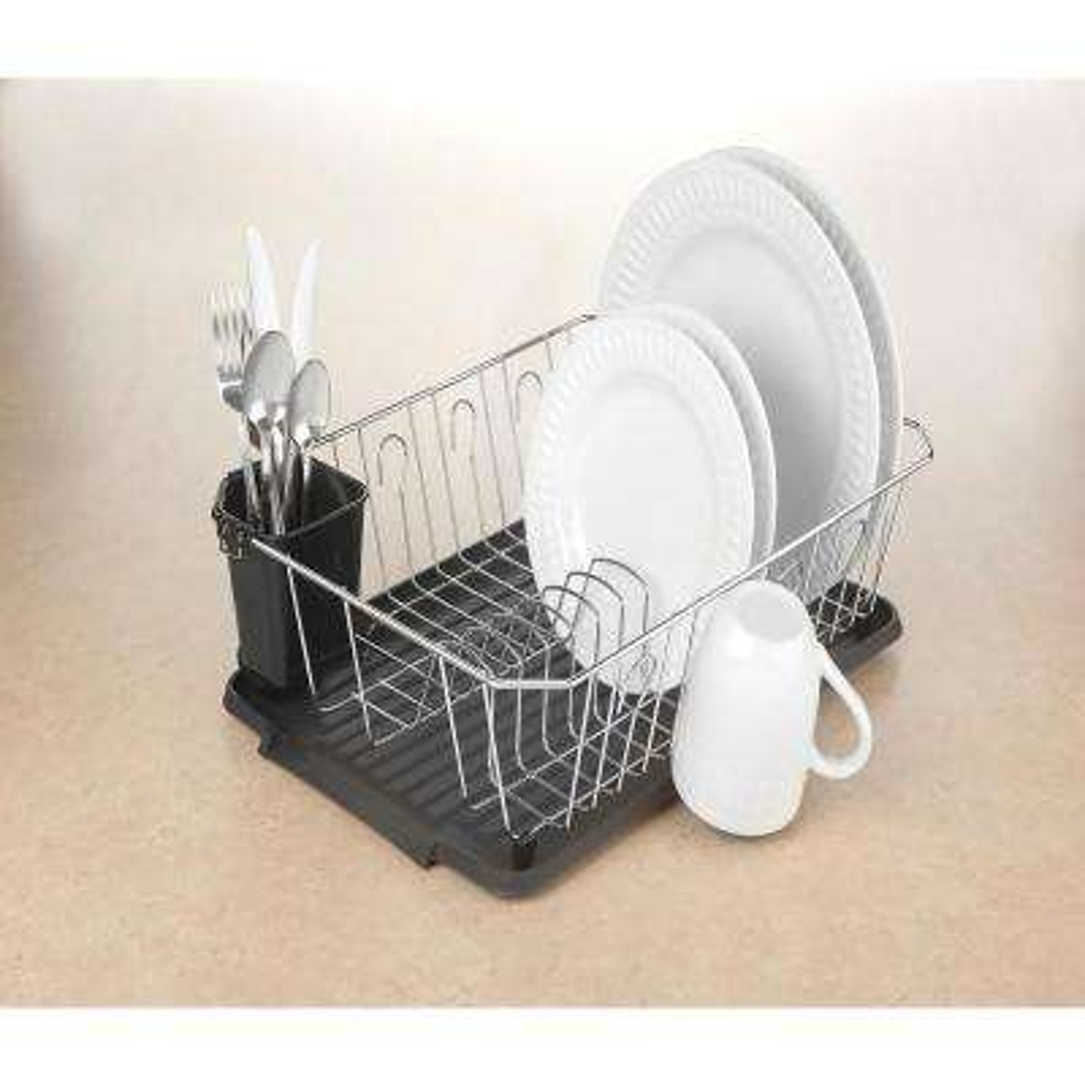 Kitchen Details Chrome 3-Piece Black Set Dish Rack