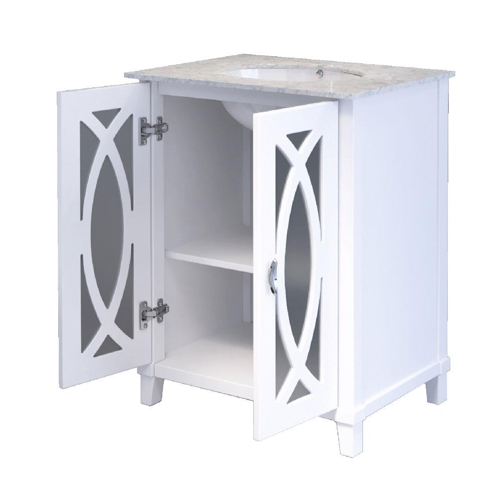 Bellaterra Home Brea 30 in. W x 22 in. D x 36 in. H Single Vanity in White with Carrara Marble Vanity Top in White with White Basin