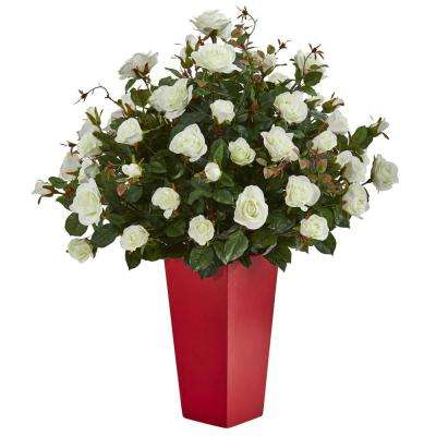 Indoor Rose Bush Artificial Plant in Red Planter