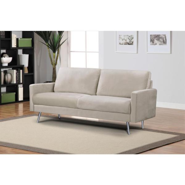 Us Pride Furniture 74 In Cream Velvet 3 Seater Lawson Sofa With Square Arms S5547 S The Home Depot