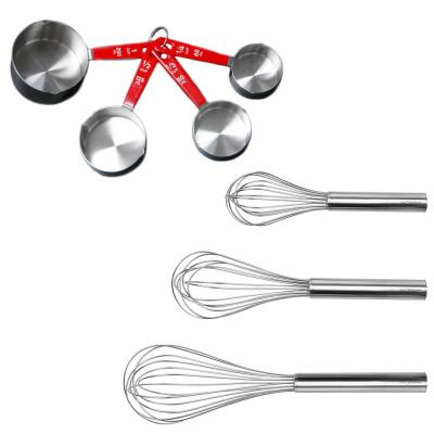 7-Piece 18/10 Stainless Steel Bake Set 3-Piece Whisks and 4-Piece Measuring Cup Set