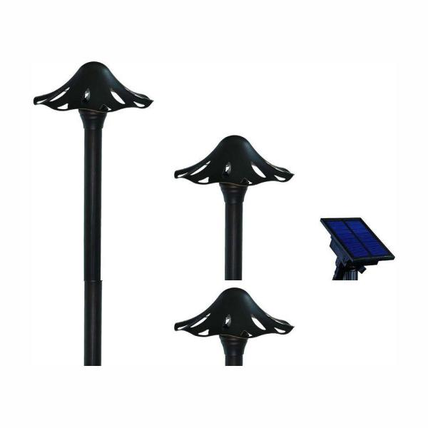 Solar Oil Rubbed Bronze Outdoor Integrated LED Mushroom Landscape Path Light with Remote Solar Panel (2-Pack)