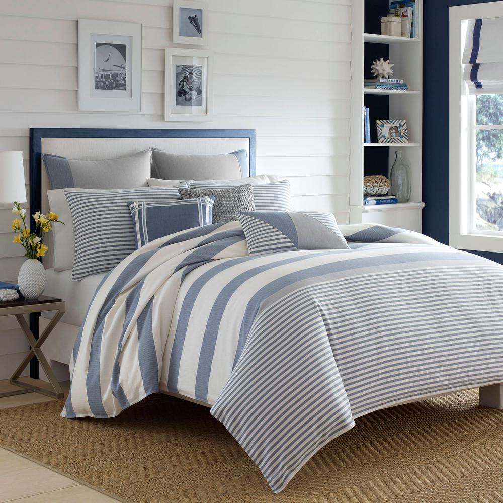 Fairwater 3-Piece Blue Striped Cotton King Comforter Set