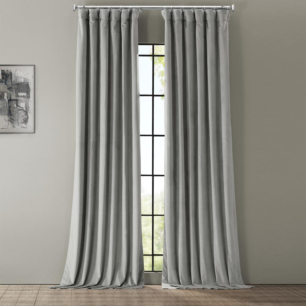 Exclusive Fabrics & Furnishings Blackout Signature Silver Grey Blackout Velvet Curtain - 50 in. W x 96 in. L (1 Panel)