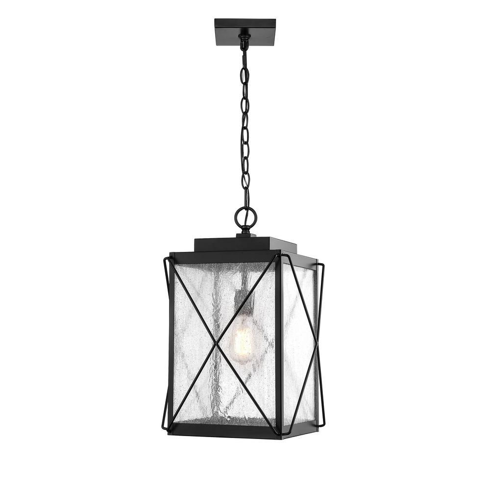 1-Light 13 in. Powder Coat Black Outdoor Lantern Pendant