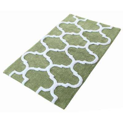 50 in. x 30 in. Bath Rug in Sage Green/White