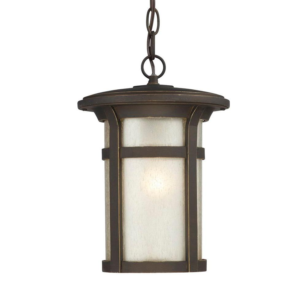 Home Decorators Collection Round Craftsman 1-Light Dark Rubbed Bronze Outdoor Hanging Lantern