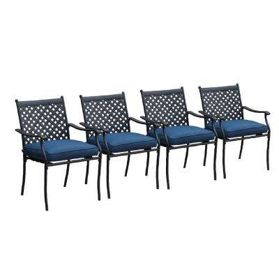 Metal Outdoor Dining Chair with Blue Cushion (4-Pack)