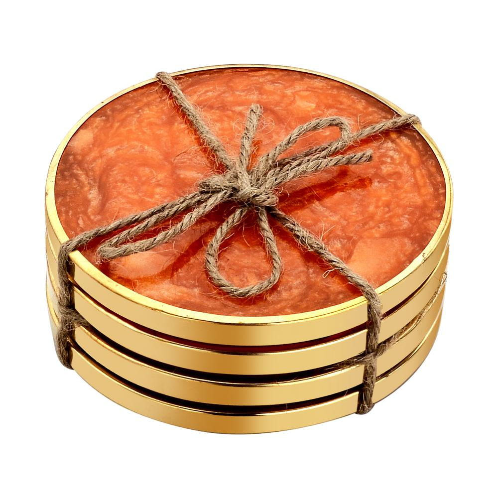 Hammered Brass 4-Pieces Orange Coaster Set