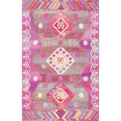 Tribal Diamond Valene Pink 4 ft. x 6 ft. Area Rug