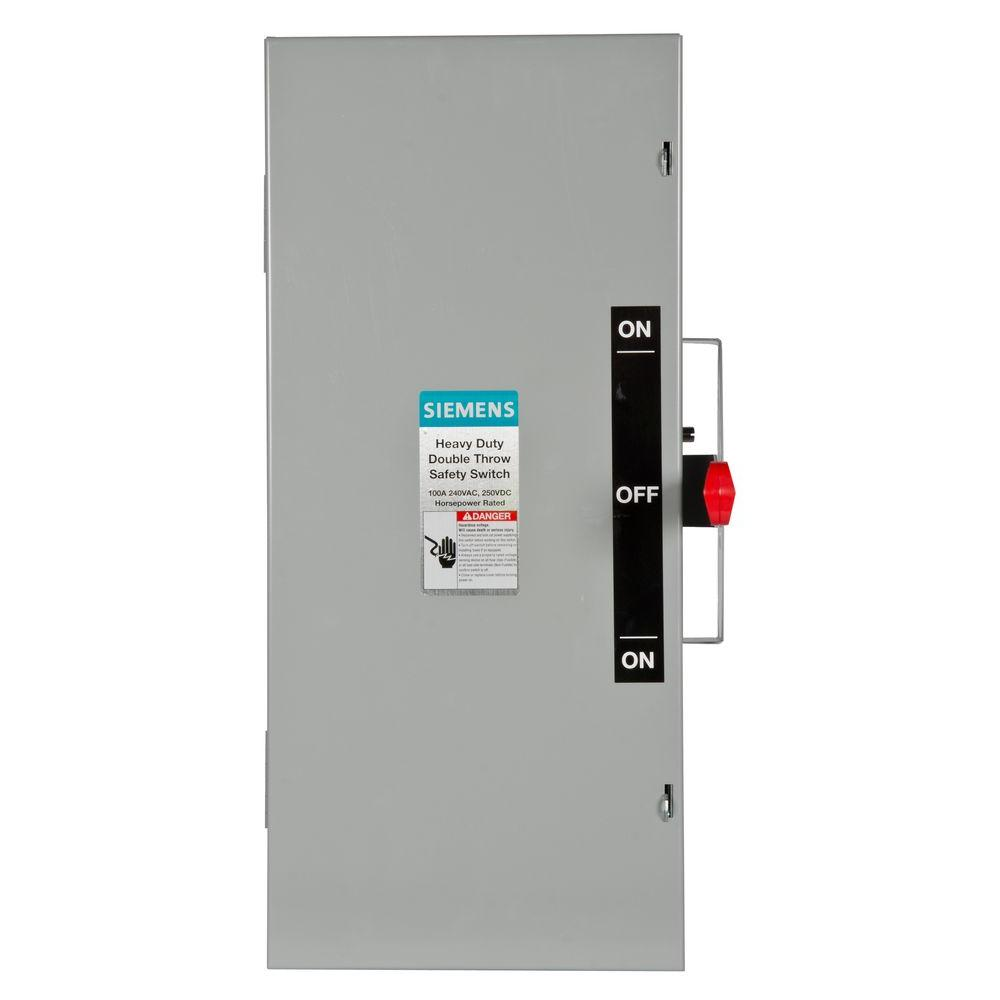 Ge 200 amp 240-volt non-fused emergency power transfer switch.