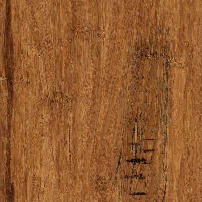 Take Home Sample - Hand Scraped Distressed Strand Woven Hazelnut Click Lock Bamboo Flooring - 5 in. x 7 in.