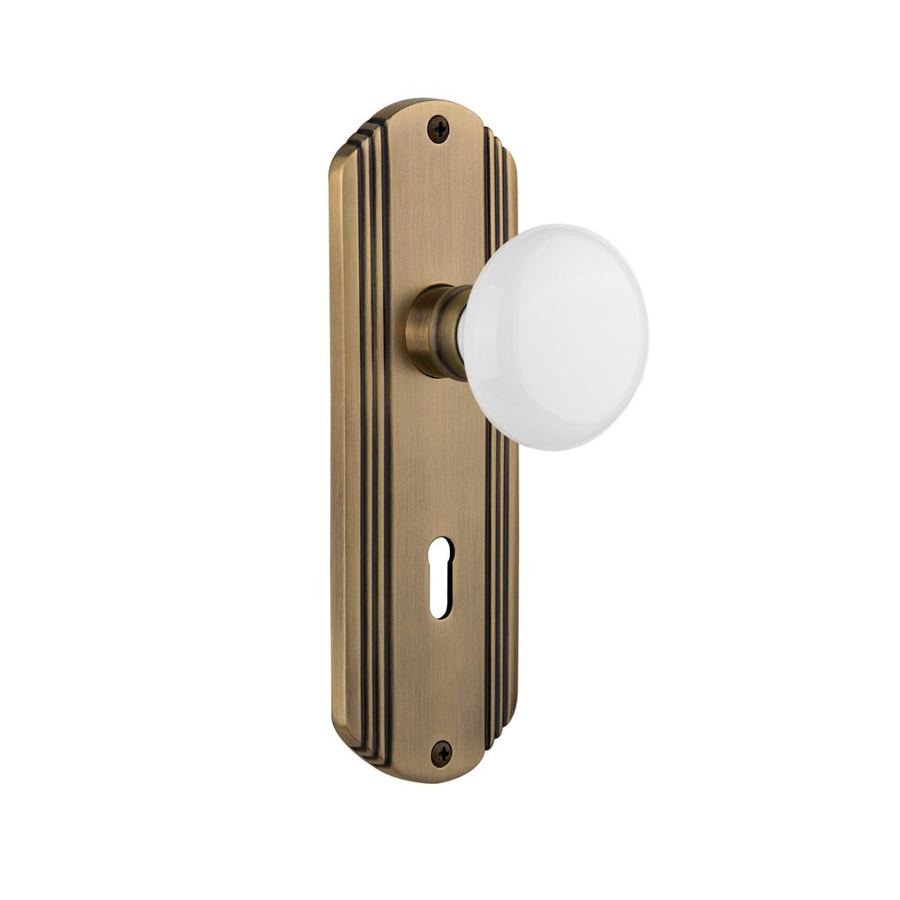 Nostalgic Warehouse Deco Plate Interior Mortise White Porcelain Door Knob In Antique Brass