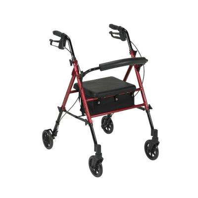 Adjustable Height 4-Wheel Rollator in Red
