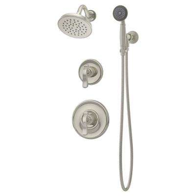 Winslet 2-Handle 1-Spray Shower Faucet with Hand Shower in Satin Nickel (Valve Included)
