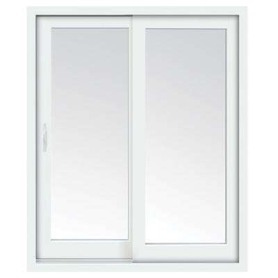 71 in. x 80 in. Glacier White Vinyl Left-Hand Low-E Sliding Patio Door with Screen, Handle Set and Nailing Fin