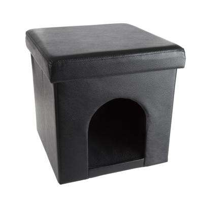 Small Black Faux Leather Pet Ottoman Bed