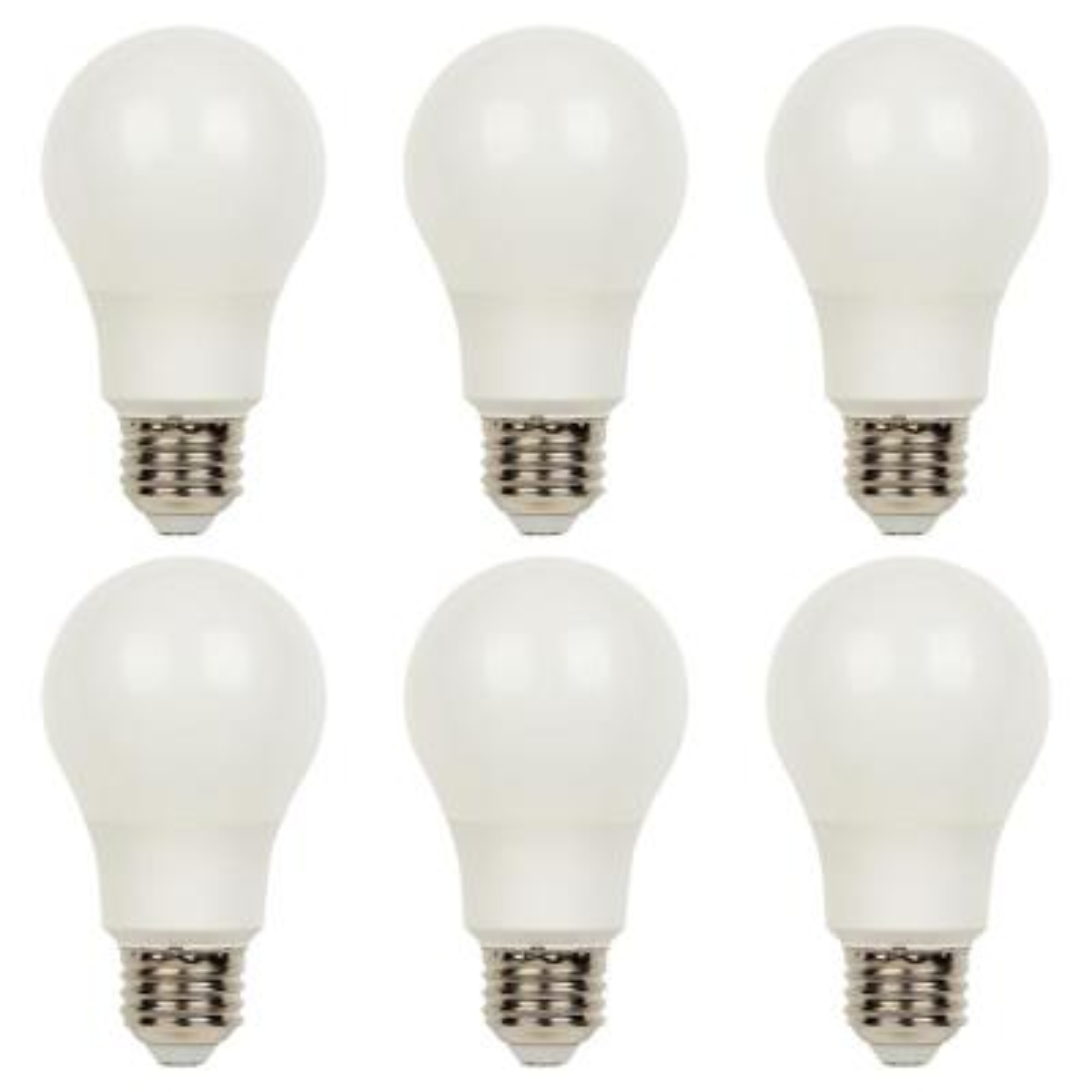 40-Watt Equivalent Omni A19 Dimmable Soft White LED Light Bulb Bright White Light (6 Pack)