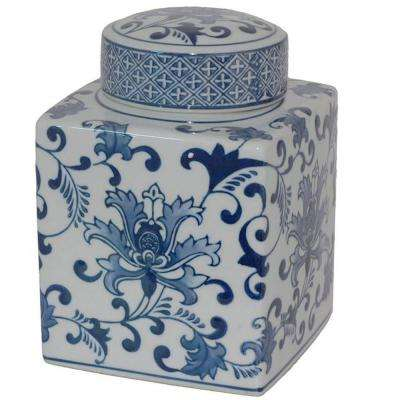 Briton 6 in. Blue and White Square Ceramic Jar