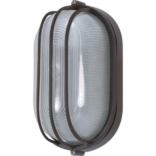 1-Light Outdoor Architectural Bronze Oval Cage Bulk Head with Die Cast