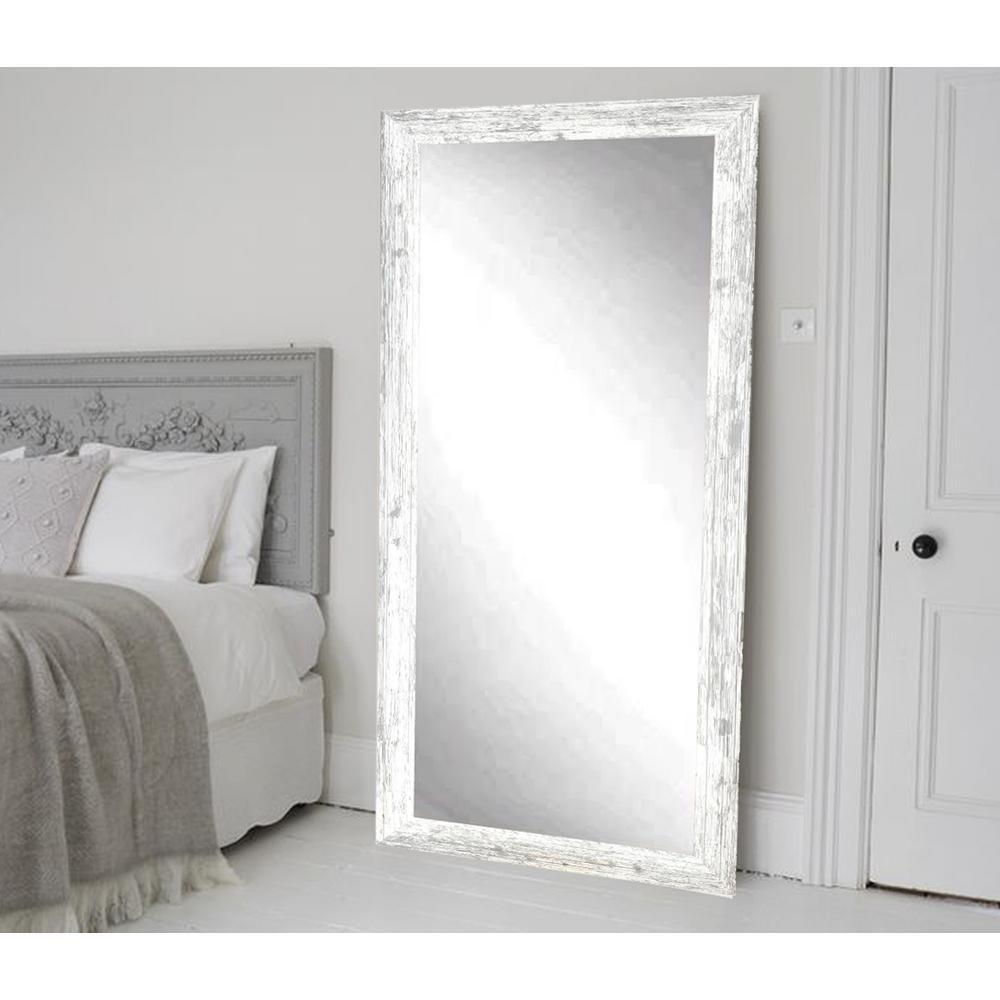 Distressed Rectangle White Floor Mirror