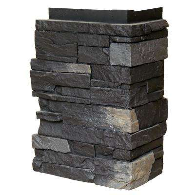 Country Ledgestone 10.25 in. x 3.5 in. Andean Onyx Faux Stone Siding Corner (4-Pack)