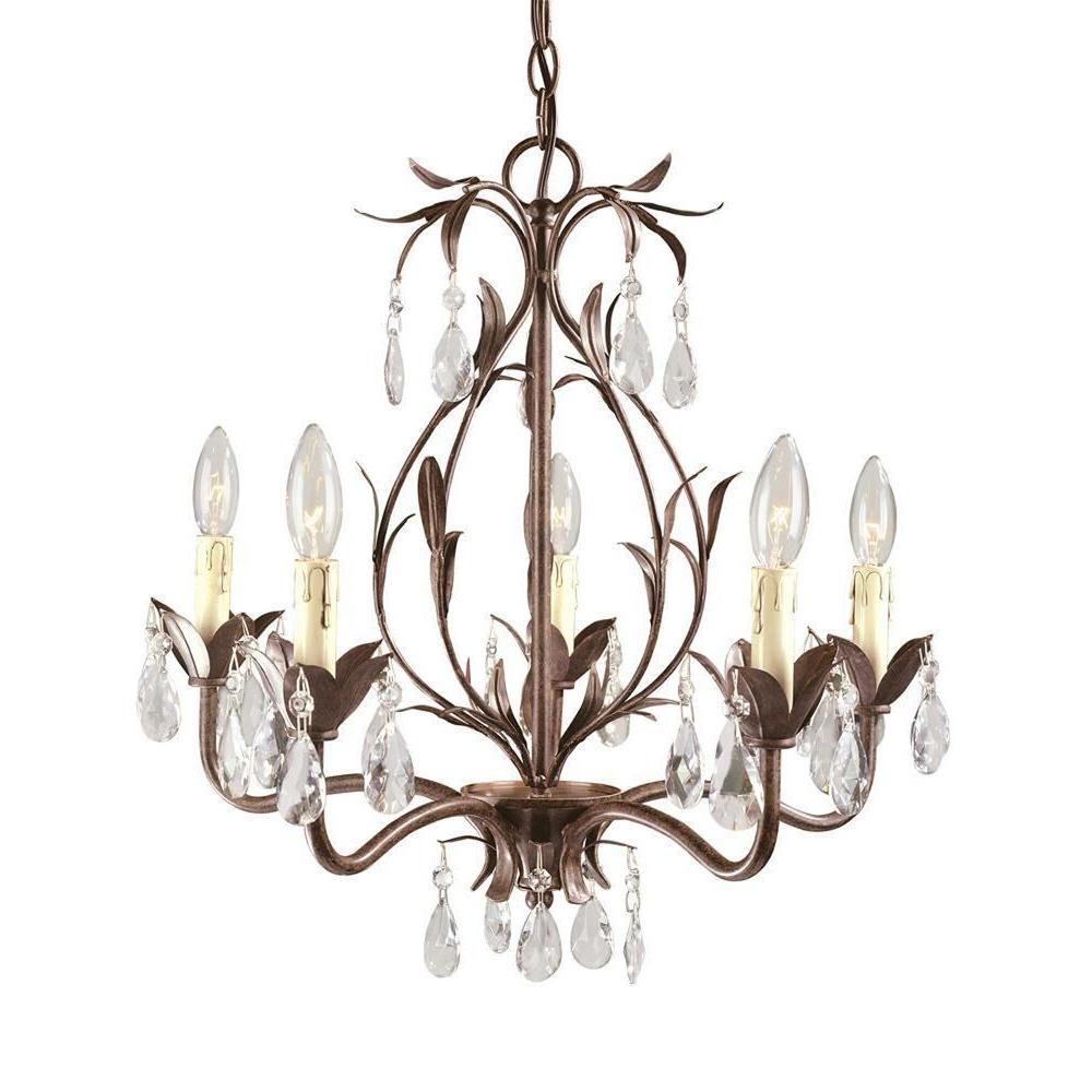 World Imports Berkley Square 5-Light Weathered Bronze Cha...