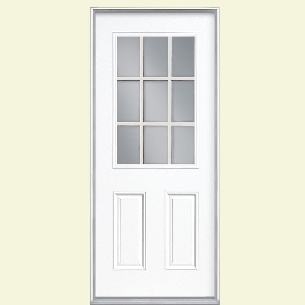 Masonite 32 in. x 80 in. 9 Lite White Right-Hand Inswing Painted Smooth Fiberglass Prehung Front Door with No Brickmold