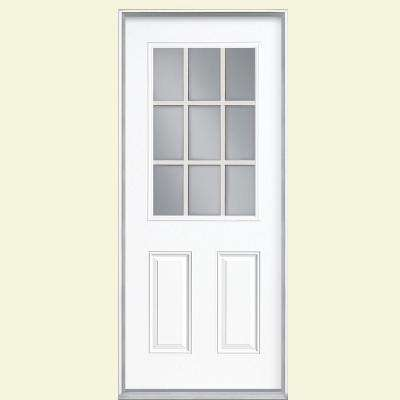 32 in. x 80 in. 9 Lite White Right-Hand Inswing Painted Smooth Fiberglass Prehung Front Door with No Brickmold