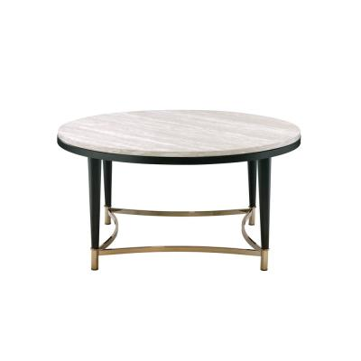 36 in. White Washed/Black Medium Round Wood Coffee Table