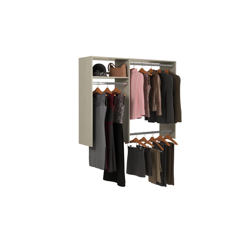 36 in. W - 60 in. W Rustic Grey Wood Closet System