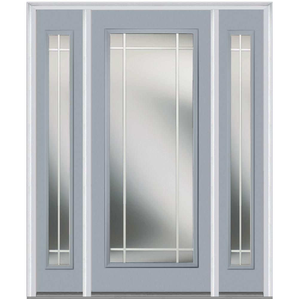 MMI Door 64 in. x 80 in. Internal Grilles Left-Hand Inswing Full Lite Clear Painted Steel Prehung Front Door with Sidelites
