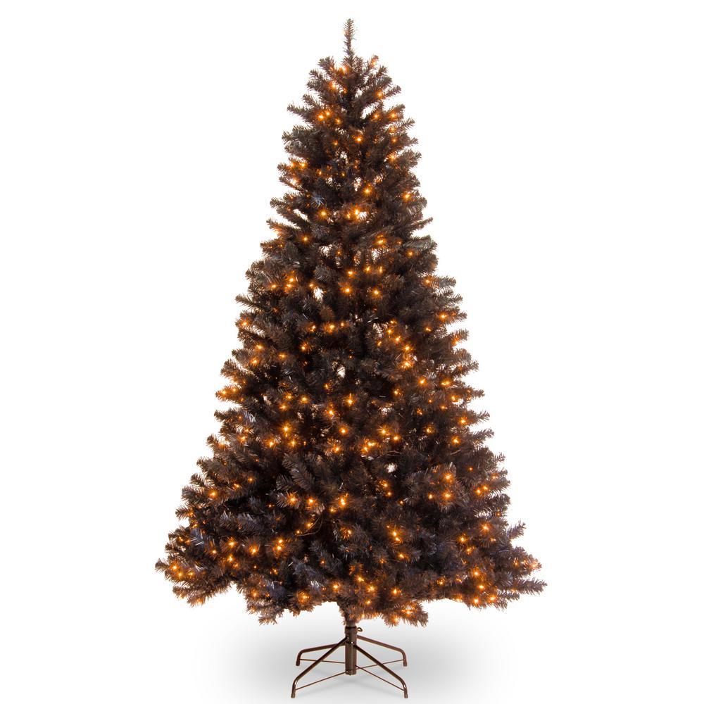Black Christmas Tree.6 1 2 Ft North Valley Black Spruce Hinged Tree With 450 Orange Lights