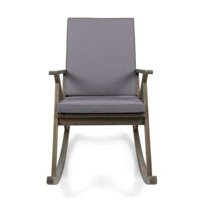 Gus Gray Wood Outdoor Rocking Chair with Gray Cushion