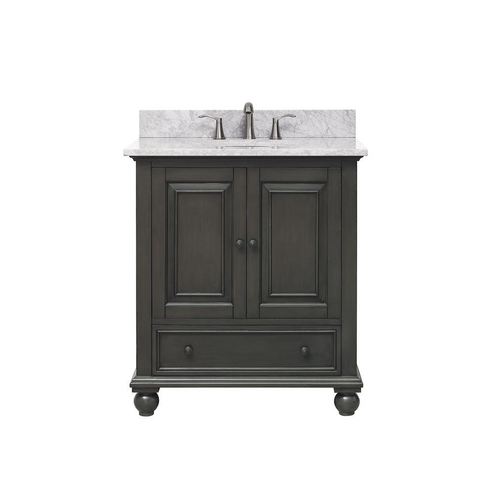 Avanity Thompson 31 In W X 22 In D X 35 In H Vanity In Charcoal Glaze With Marble Vanity Top In Carrera White With Basin Thompson Vs30 Cl C The Home Depot