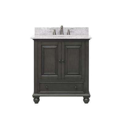 Thompson 31 in. W x 22 in. D x 35 in. H Vanity in Charcoal Glaze with Marble Vanity Top in Carrera White with Basin