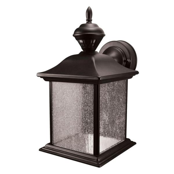 City Carriage 150 degree Black Outdoor Motion Sensing Wall Lantern Sconce
