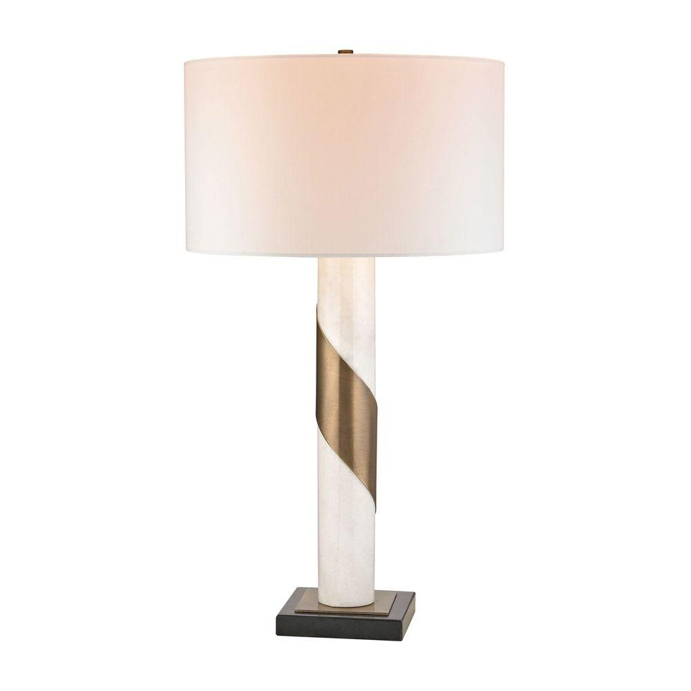 Titan Lighting 29 In Brass Strapped Marble Table Lamp Tn 999262