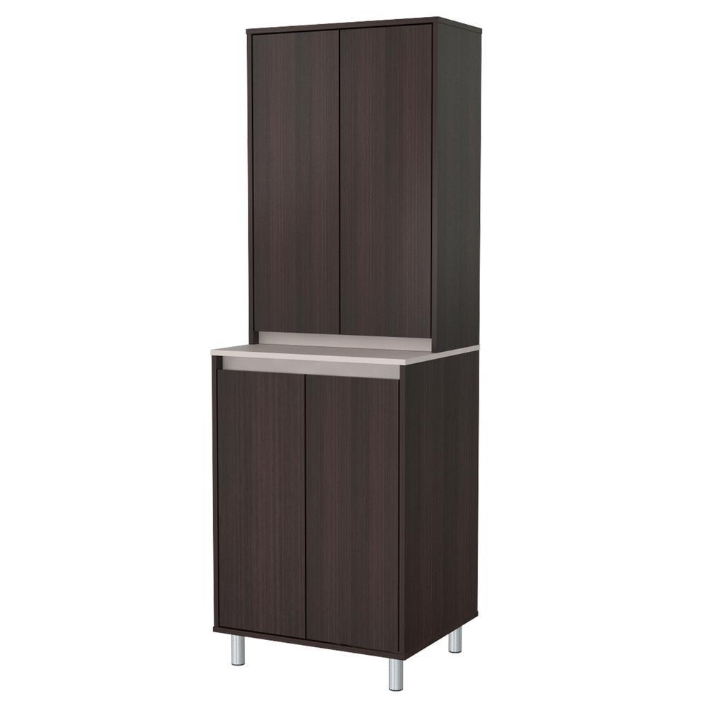 Espresso and Amber Grey Breakroom Cabinet With 4-Doors
