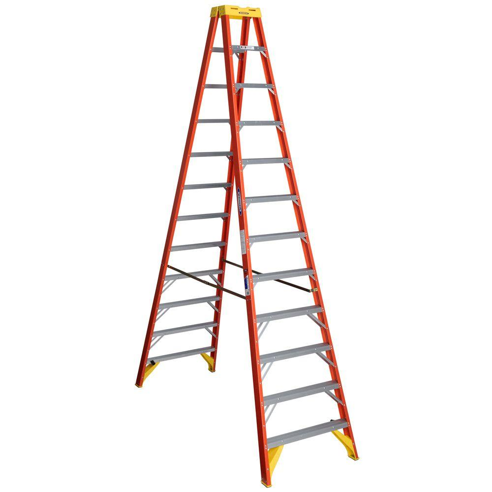 12 ft. Fiberglass Twin Step Ladder with 300 lbs. Load Capacity