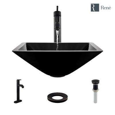 Glass Vessel Sink in Noir with R9-7001 Faucet and Pop-Up Drain in Antique Bronze