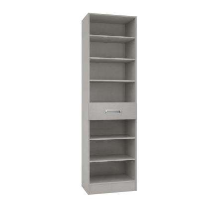 15 in. D x 24 in. W x 84 in. H Firenze Natural Linen Melamine with 7-Shelves and Drawer Closet System Kit
