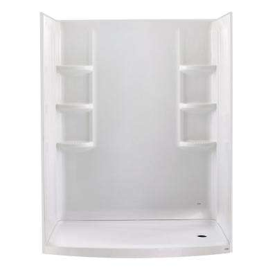 Ovation Curved 30 in. x 60 in. x 72 in. 3-piece Direct-to-Stud Alcove Shower Wall in Arctic White