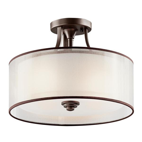 Lacey 3-Light Mission Bronze Semi-Flush Mount Ceiling Light with Translucent Organza Outer Shade