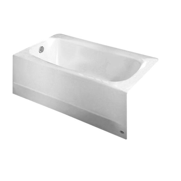 Cambridge 60 in. Left Drain Rectangular Apron Front Bathtub in White
