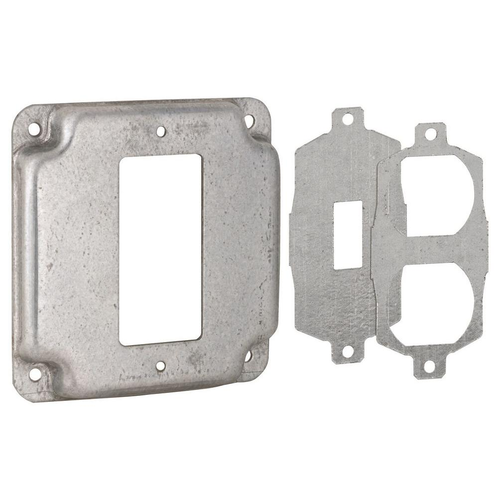 4 in. Square Exposed Work Cover, Single Device 3-in-1 Universal Cover