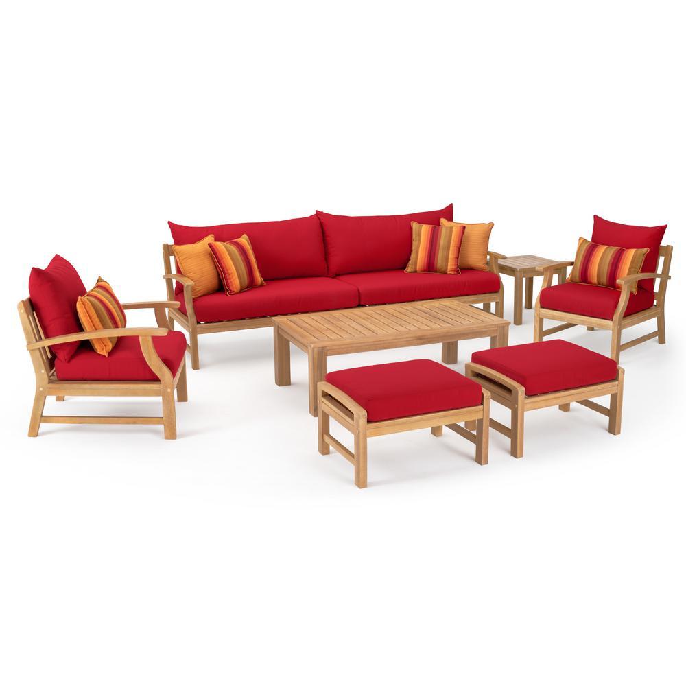 Kooper 8-Piece Wood Patio Conversation Set with Sunbrella Sunset Red Cushions